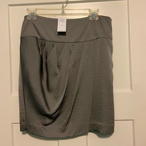 Banana Republic satiny pewter crossover skirt